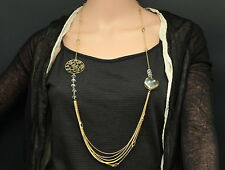 """Quality 39"""" star round clear lucite beads rhinestone gold plated necklace S66"""