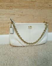 NWOT Coach Madison Wristlet Clutch Wallet  White Leather Gold Tone Chain Strap