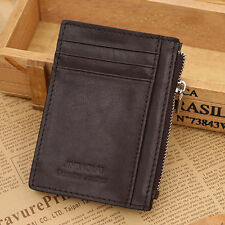 Coffee Mens Leather Slim Money Clip Zip Purse Wallet Credit Card ID Cash Holder
