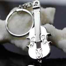 Mini Creative Violin Charm Metal Keyring Keychain Key Ring Chain Silver Gift NEW