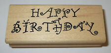 Happy Birthday Rubber Stamp Fancy Writing Candle Wood Mounted Wishes DIY Cards