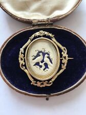 Antique Victorian Gold Coloured Large Spinning Brooch With Bird Details Locket