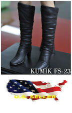 1/6 kumik shoes FS-23 Black Widow Catwoman women black long Boot ❶❶US seller❶❶