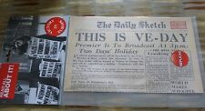 WW2 - Replica Newspaper - VE Day - The Daily Sketch - Victory - News - School