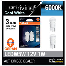 New! Osram LED 6000K Cool White W5W (501) Wedge 12V 1W Bulbs Retrofit 2880CW-02B