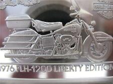 1.4-OZ.999 PURE SILVER 1976 FLH-1200  90TH ANNIVERSARY  HARLEY DAVIDSON BAR+GOLD