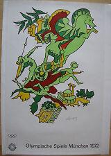 Olympische Spiele München Künstlerplakat Charles Lapicque 1972 Olympia