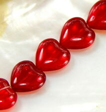 Czech Glass Transparent Red Heart Shaped Beads, 16x15mm 12 Pieces