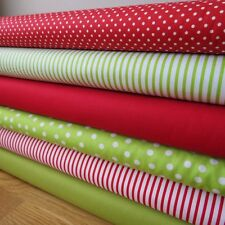 Red and green Christmas spots plain stripes fabric bundle by RK, Makower ans JL