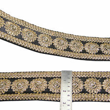 Embroidered Floral Trim Craft Ribbon 7.6 Cm Wide Indian Sari Border By The Yard