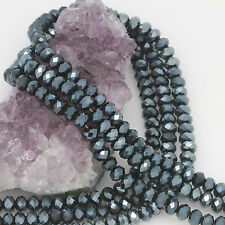 "16"" Str. 6mm Chinese Crystal Glass Beads Faceted Rondelle Iolite Blue"