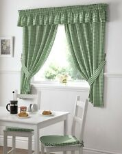 GINGHAM CHECK GREEN WHITE KITCHEN CURTAINS DRAPES W46  X L48 TIEBACKS INCLUDED