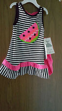 Rare Editions Baby Girls' Striped Knit Dress Watermelon Applique, Sz. 12 Mo. NWT