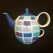 Whittard Tea for One Teapot Cup and Saucer Blue Squares