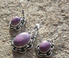 Handmade ethnic silver plated earrings pendant dyed purple turquoise cabochons