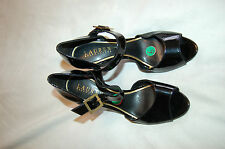NWOB Ralph Lauren Bethania Black Patent Leather Heels Open Toe  Shoes Size 6 M