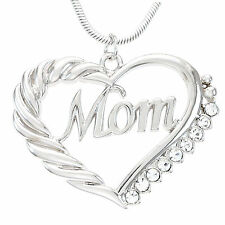 Silver Heart MOM Necklace Love Pendant Women Mothers Day Jewelry Gift For Mom