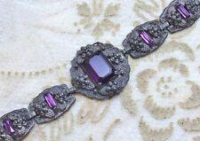Vintage Antique Art Deco Victorian Revival Amethyst Purple Glass Bracelet 1920s