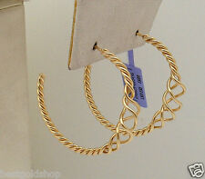"""1 3/8"""" All Shiny Graduated Twisted Wire Hoop Earrings Real 14K Yellow Gold"""