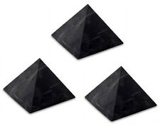 3 x Shungite UNpolished pyramid 30x30 mm Original Healing Stone Karelia Russia