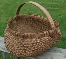 ANTIQUE OAK BASKET HAND WOVEN EGG APPLE CHERRY PEACH PRAIRIE GATHERING BASKET