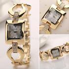 Women Luxury Dress Square Crystal Stainless Steel Bracelet Wristwatch Gold Watch