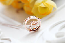 18K White / Rose GOLD GF Solid Heart Ring Pendant Necklace Swarovski Crystal