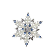 Lux Accessories Christmas Xmas Holiday White Enamel Large Snowflake Brooch Pin