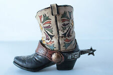 Mini Western Cowboy Cowgirl Rustic Flower Boot Vase Toothpick Pen Pencil Holder