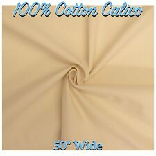 """100% Cotton Natural Cream Loomstate Calico 50"""" Wide Fabric Material (Per Metre)"""