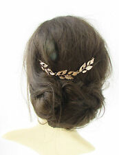 Gold Silver Leaf Hair Vine Headdress Headpiece Grecian Rhinestone Bridal Vtg 342