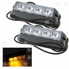 2 x 12/24V 4LED Amber Emergency Hazard Warning Strobe Flashing Light