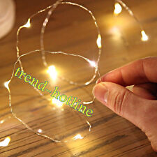 2M 20 LED Battery Operated Warm White Fairy String Lights Mini Craft Silver Wire