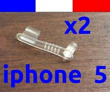 x2 cache anti-poussière TRANSPARENT lightning capuchon bouchon -  iphone 5 5C 5S