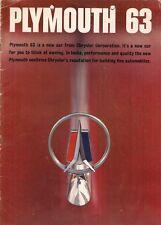 Plymouth SAVOIA Belvedere Fury Sport Fury 1963 mercati di esportazione BROCHURE DI VENDITA