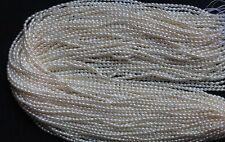 White Rice Pearl 2-4mm Natural Freshwater Pearl 35cm one Strands Loose Bead 15''