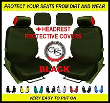2x CAR SEAT COVER T-SHIRT VEST FRONT + HEADREST BLACK BMW 116d 116i