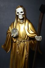 "La Santa Muerte Oro 8"" Grim Reaper Holy Death Color Gold -Skull, Skeleton Dorado"
