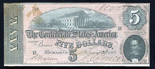 T-69 1864 $5 FIVE DOLLARS CSA CONFEDERATE STATES OF AMERICA ABOUT UNC
