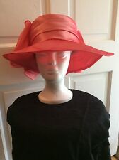 GORGEOUS WOMEN LADY CORAL COLORED SATIN HAT GREAT FOR CHURCH WEDDING DERBY
