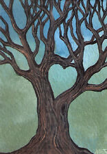 ACEO tree heart love landscape original painting by MOTYL