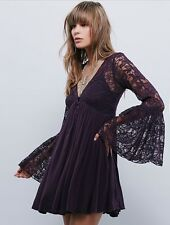 Rare Free People Anthropologie With Love Lace Bell Sleeve Festival Mini Dress XS