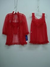 USA Made Nancy King Lingerie 3 Piece Baby Doll Pajama Size Red Small #941Q