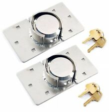 2 X VAN LOCK GARDEN SHED 73MM SECURITY PADLOCK AND HASP SET CHROME PLATED NEW UK