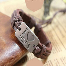 Christian Religious Scripture Inspirational Cross Leather Bracelet Stylist m5