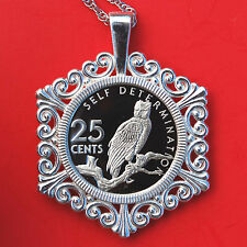 1976 Guyana 20 Cent Proof Coin Solid 925 Sterling Silver Necklace - Harpy Eagle
