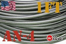 Siliver AN4 Stainless Steel Braided Fuel Oil Gas Line Hose -4AN 1FT