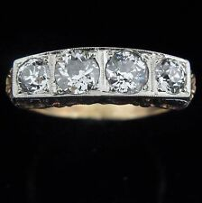 Men's Antique 2 Carat Old European Cut Diamonds 14k Yellow White Gold Estate