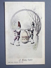 R&L Postcard: Franz Huld, Easter, Two Gnomes Carrying Large Egg 1904