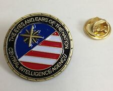 """CIA USA Flag """"The Eyes and Ears of the Nation"""" Antique Brass 1"""" Lapel / Hat Pin"""